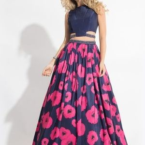 RACHEL ALLAN 2- Piece Floral Homecoming/Prom Dress
